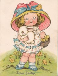 JOYOUS EASTER.  girl carries basket of chicks & rabbit, facing front