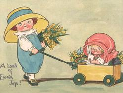 A LOAD OF EASTER JOYS!  girl holds armful of flowers & pulls another in cart holding rabbit