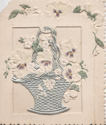 no front title, silver basket, white & purple pansies with metallic centres.set in perforated smaller front flap