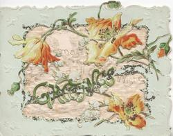 GREETINGS in green across silk screen covering large perforation, orange anemones around