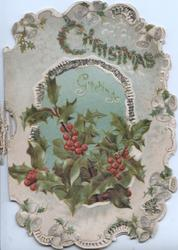 CHRISTMAS GREETINGS (illuminated) above berried holly, marginal bell design