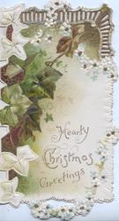 HEARTY CHRISTMAS GREETINGS, large ivy leaves cascade down left, scant pale blue forget me nots right, perforations at top