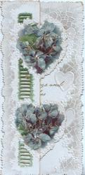 HEARTY WISHES in gilt on 2 white hearts almost covered by violets on smaller left flap