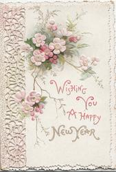 WISHING YOU A HAPPY NEW YEAR above pink embossed wild roses, perforations