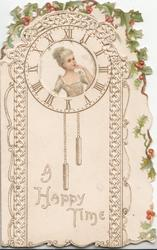 A HAPPY TIME girl in clock-face partially seen through perforation