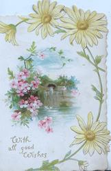 WITH ALL GOOD WISHES yellow daisies round  watery, rural scene with pink blossom