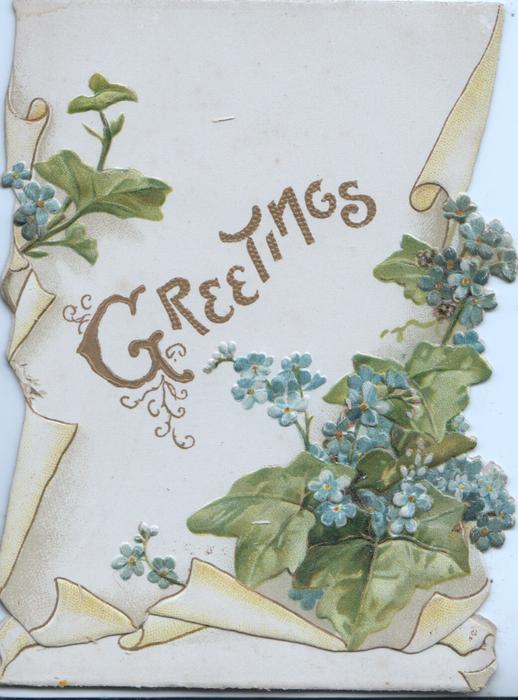 GREETINGS in gilt between forget-me-nots above & below