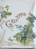 GREETINGS in gilt between forget-me-nots above & below