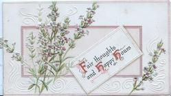 FAIR THOUGHTS AND HAPPY HOURS(F,H, H illuminated) on white plaque, heather left, embossed background designdesign