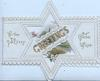 GREETINGS in gilt across perforated star design to reveal rural inset on back flap