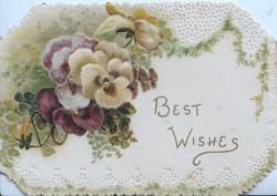 BEST WISHES below  multi-coloured pansies above left, mossy perforated marginal design