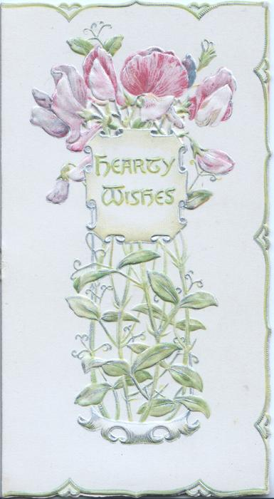 HEARTY WISHES in pale green on square central inset in front of multi-coloured sweat peas
