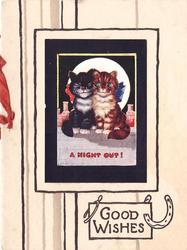 A NIGHTOUT! black/white cat & tabby sit lovingly on ledge, GOOD WISHES with luck symbols below