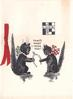 THAT'S WHAT I WISH YOU! 2 black cats wearing bows hold wishbone, JUST LUCK upper right