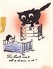 THIS LUCK AIN'T ALL A DREAM IS IT? giant black cat stands on dresser above man in bed
