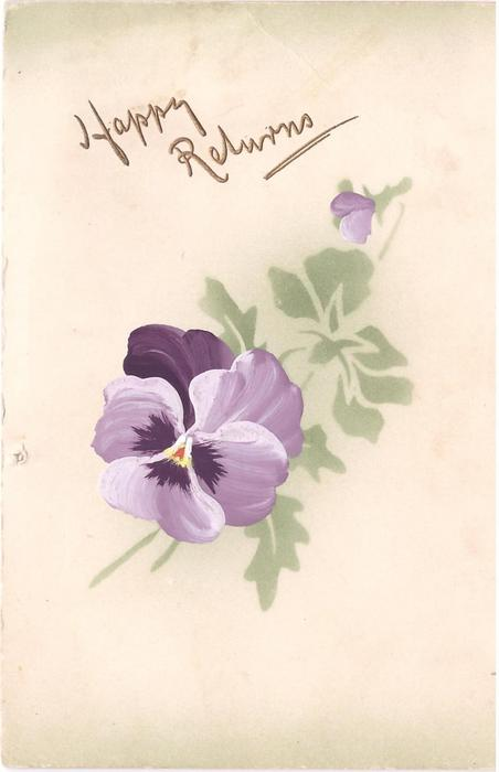 HAPPY RETURNS in gilt above handpainted purple pansy