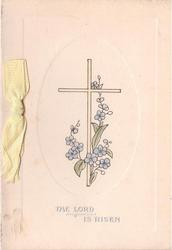 THE LORD IS RISEN silvered, below floral cross inside ovular plate-marked border