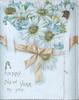 A HAPPY NEW YEAR TO YOU glittered daisies above orange ribbon tied in bow
