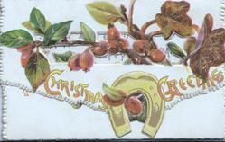 CHRISTMAS GREETINGS across perforated front flap below ivy berries & leaves, yellow horseshoe