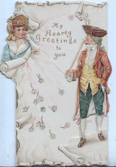 MY HEARTY GREETINGS TO YOU in gilt between man & woman standing on either side of front flaps