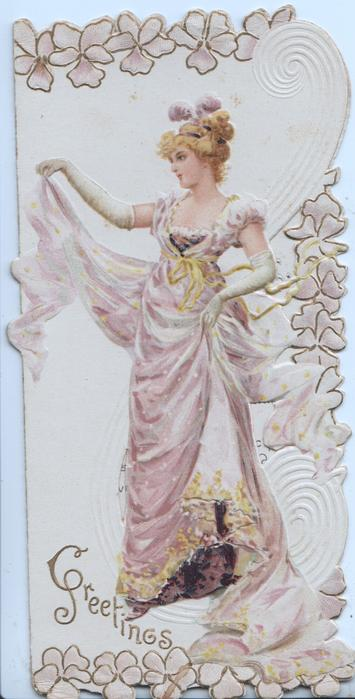 GREETINGS in gilt below left, woman stands holding up purple skirt with both hands, looking left