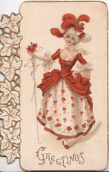 GREETINGS in gilt below woman in red & white outfit steps front holding cane, stylised ivy left