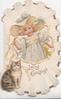 LOVING GREETINGS in gilt below girl in pale blue dress standing holding yellow ribbon, tabby cat left