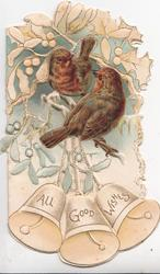 ALL GOOD WISHES on 3 bells below 2 robins perched on berried mistletoe