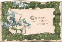 GREETINGS in gilt on white plaque, blue anemones left, mossy green marginal design