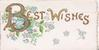 BEST WISHES(B illuminated & glittered) in gilt across top of lower flap, forget-me-nots around