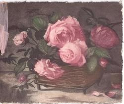 no front title, pink roses in rectangular woven pot with legs, pink ribbon left