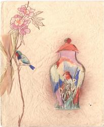 no front title, kingfisher on hand painted vase, enclosed with pot pourri, another bird on flower stem left