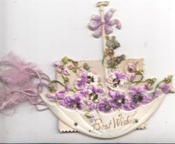 BEST WISHES, very heavily embossed & shaped celluloid design of violets in up-side down umbrella