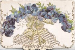 HEARTY GREETINGS in gilt, arch of violets above 6 bells, perforated design on lower flap