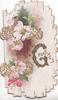 GREETINGS(G illuminated & glittered) in gilt, pale pink & white wild roses left in white & floral design