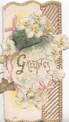 GREETINGS(G illuminated & glittered) in gilt surrounded by circle of white wild roses over ivy leaf, gilt & white marginal & right perforated design