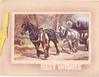 BEST WISHES stenciled below inset, man leads 2 horses pulling cart loaded with logs