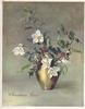 CHRISTMAS ROSES in gilt holly & white dog roses in vase, muted green background