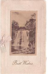 BEST WISHES in gilt below waterfall inset