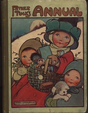 FATHER TUCK'S ANNUAL 1911 for 1912, mother with child on either side carries basket of toys, child in blue holds puppy, child in brown carries holly