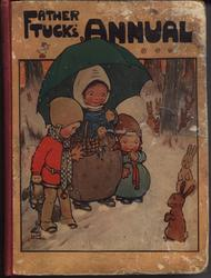 FATHER TUCK'S ANNUAL mother with green umbrella and a child on either side looks at two rabbits