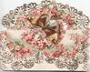 no front title, pink cherry blossom across 2 perforated flaps, white floral marginal design, butterfly displays above