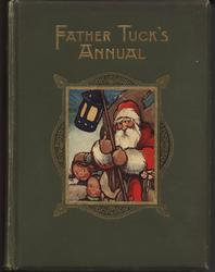 FATHER TUCK'S ANNUAL Santa holds lantern and sack of toys followed by a group of children