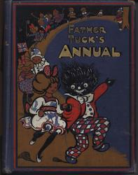 FATHER TUCK'S ANNUAL golliwog and girl lead a parade of children with toys