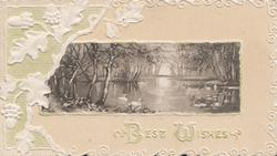 BEST WISHES in white below swans on water in tree-bordered lake,stylised white oak leaves & acorns left