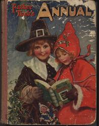 FATHER TUCK'S ANNUAL 1915 for 1916 girl in red coat and hat with boy in pilgrim suit read a Tuck book,