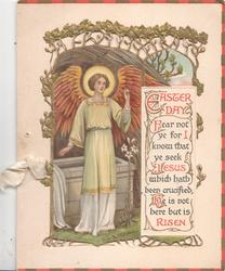EASTER DAY.....Angel with halo, raised left hand below perforated gilt design