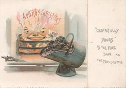 A MERRY CHRISTMAS in red flame from personised fire, personised coal in coal-scuttle