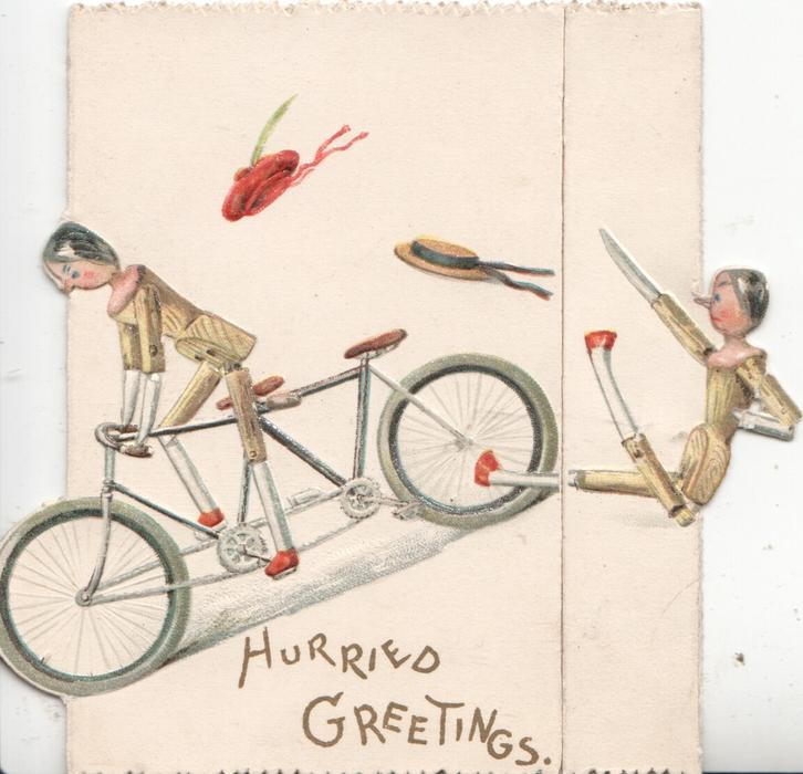 HURRIED GREETINGS below stick-person cyclist, another falls from behind, both have lost hats