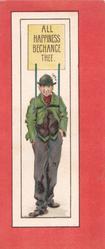 ALL HAPPINESS BECHANCE THEE...sandwich board man walks front, purple background